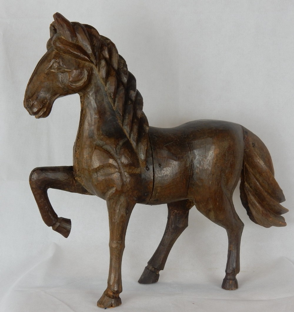 18th c carved oak horse 21 tall