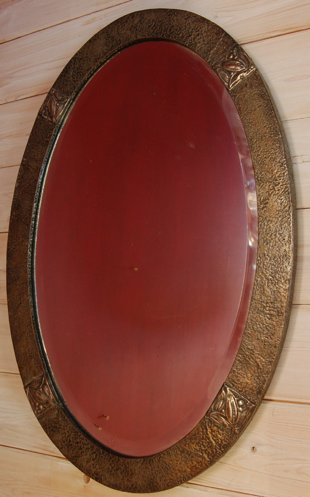 liberty hand beaten copper arts and crafts mirror