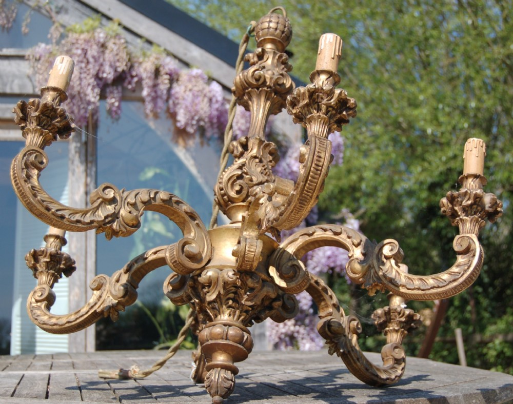 gilt wood six branch chandelier