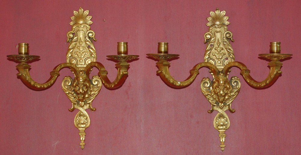pair of gilt bronzeormolu wall lights
